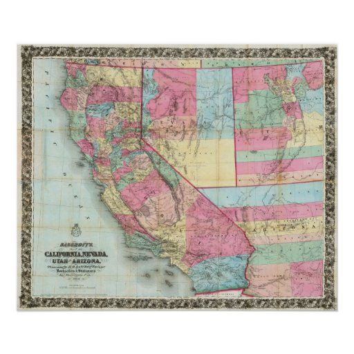 Bancroft's Map Of California, Nevada Posters
