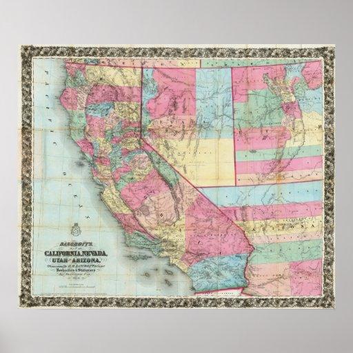 Bancroft's Map Of California, Nevada Poster