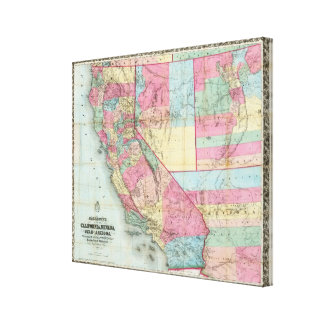 Bancroft's Map Of California, Nevada Stretched Canvas Print