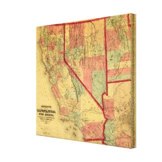 Bancroft's Map Of California, Nevada, Utah Canvas Print