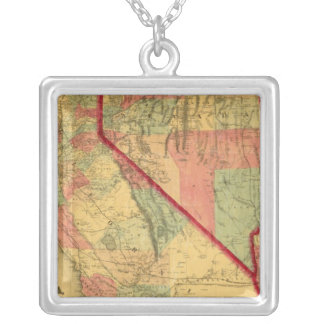 Bancroft's Map Of California, Nevada, Utah Silver Plated Necklace