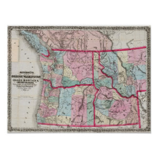 Bancroft's Map Of Oregon, Washington, Idaho Poster