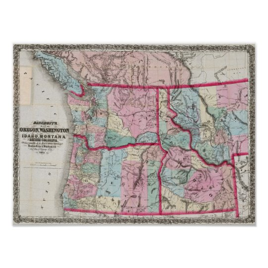 Bancroft's Map Of Oregon, Washington, Idaho Poster