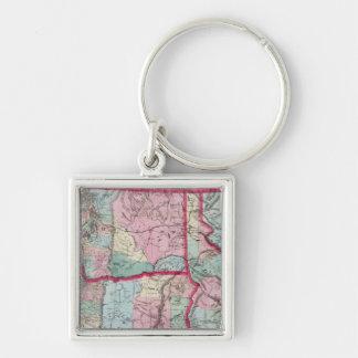 Bancroft's Map Of Oregon, Washington, Idaho Silver-Colored Square Key Ring