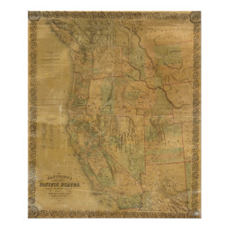 Bancroft's Map Of The Pacific States Poster