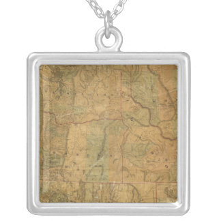 Bancroft's Map Of The Pacific States Silver Plated Necklace