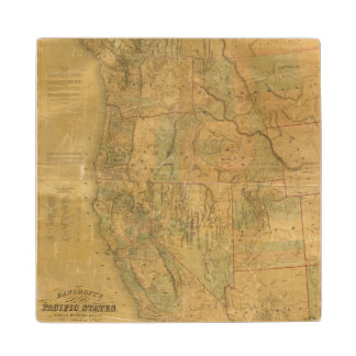 Bancroft's Map Of The Pacific States Wood Coaster