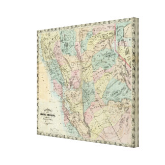 Bancroft's New Map Of Central California Canvas Print