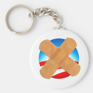 Band-aid No to Obamascare Basic Round Button Key Ring