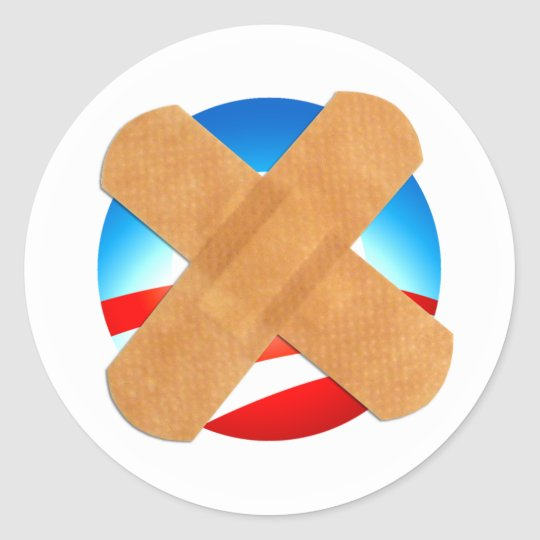 Band-aid No to Obamascare Classic Round Sticker