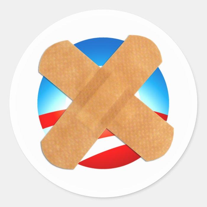 Band-aid No to Obamascare Round Sticker