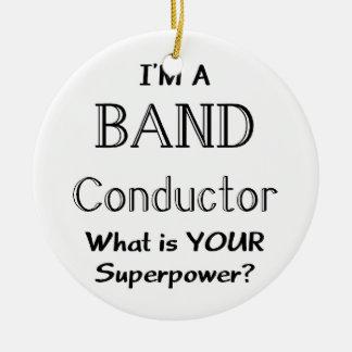 Band conductor round ceramic decoration