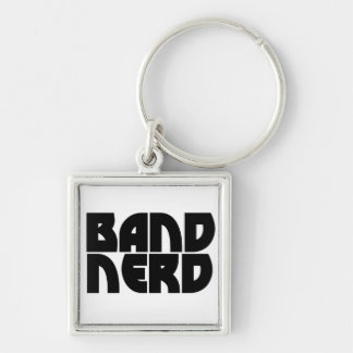 Band Nerd Silver-Colored Square Key Ring
