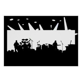 Band On Stage Concert Silhouette B&W Print