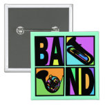 BAND POP ART SQUARES PINBACK BUTTON