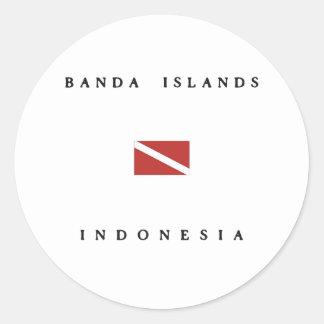 Banda Islands Indonesia Scuba Dive Flag Round Sticker