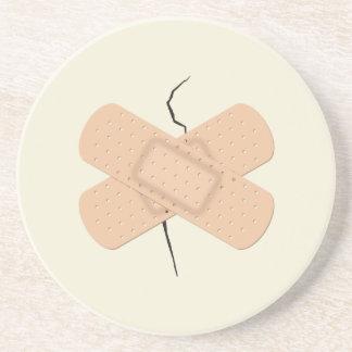 Bandage On A Crack Beverage Coaster