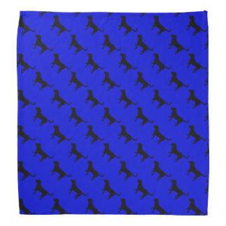 Bandana black lab pattern blue background