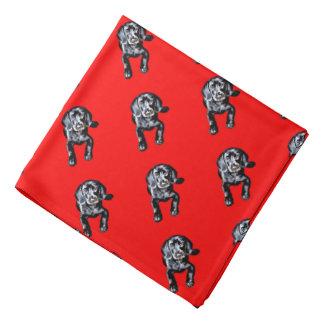 Bandana black lab puppy pattern red background