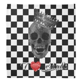Bandana/Handkerchief - I love skulls B&White Bandana