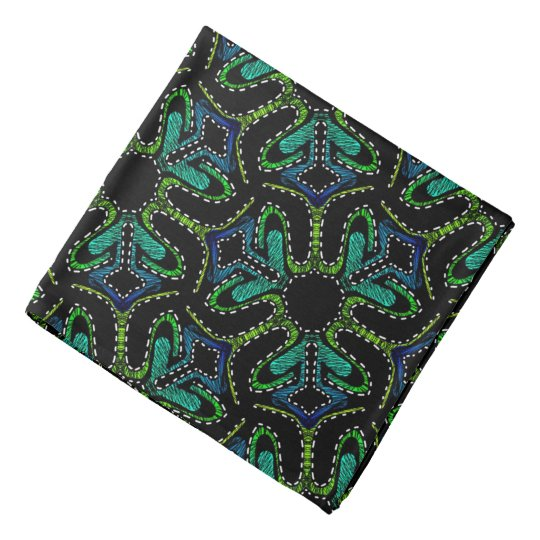Bandana Jimette blue green Design on black