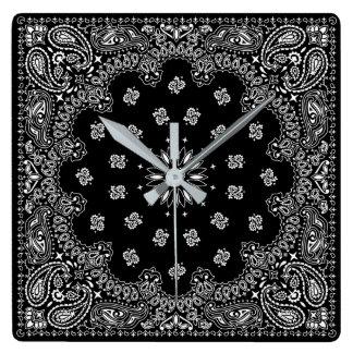 bandana paisley square clock