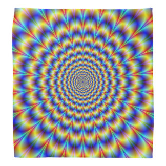 Bandana  Psychedelic Pulse in Blue and Yellow