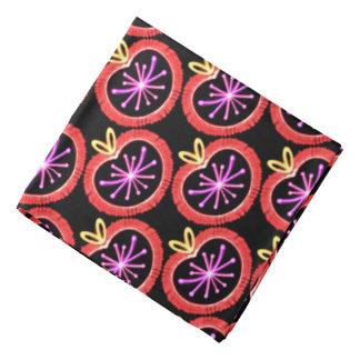 Bandana yellow Jimette Design red rose and black