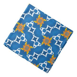 Bandana yellow Jimette orange white Design on blue
