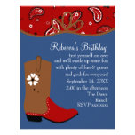 Bandanna and Lasso Cowgirl Birthday Personalised Invitations