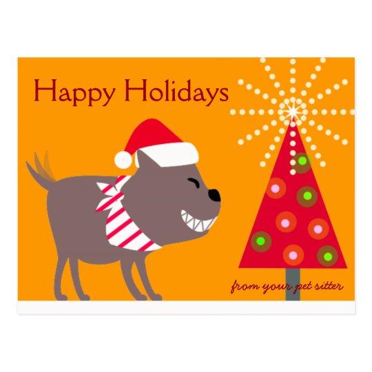 Bandanna Dog & Christmas tree-orange Postcard