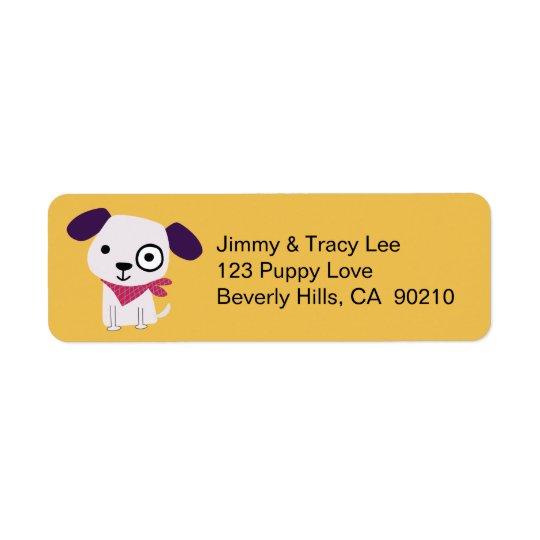 Bandanna Doggy, Address Labels, yellow Return Address Label