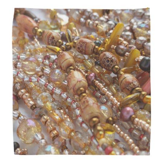 Bandanna- Natural Earthtones, Bronze Beads Print Bandana