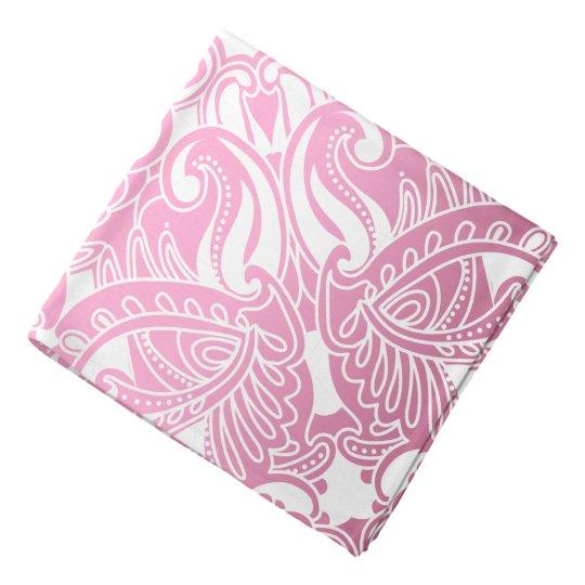 Bandanna-  Pink and White Paisley Bandana