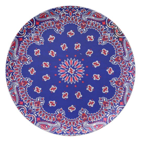 Bandanna Print Red White and Blue Melamine Plate