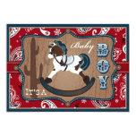 Bandanna Print & Rocking Horse Cowboy Baby Shower 13 Cm X 18 Cm Invitation Card