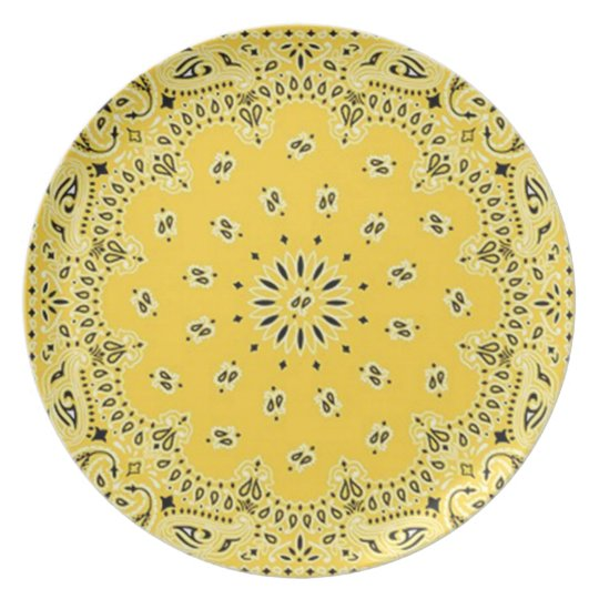 Bandanna Print Yellow Melamine Plate