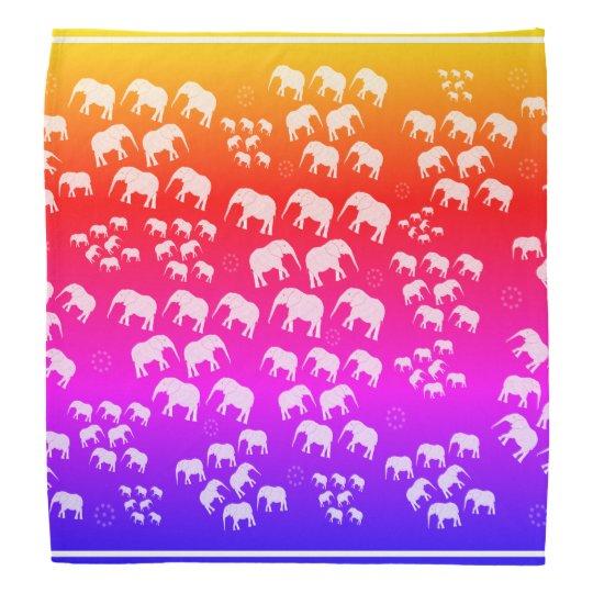 Bandanna purple blue orange yellow elephants
