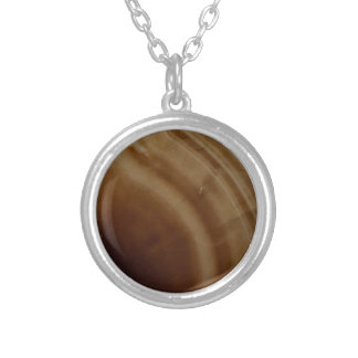 Banded Agate, Brown, Cool Nature Stone Silver Plated Necklace