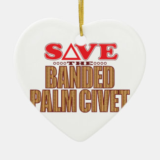 Banded Palm Civet Save Ceramic Heart Decoration