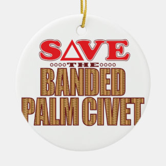 Banded Palm Civet Save Round Ceramic Decoration