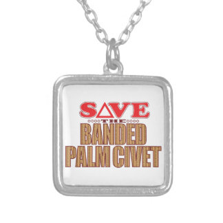 Banded Palm Civet Save Silver Plated Necklace