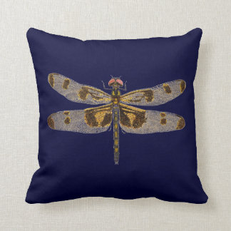 Banded Pennant Dragonfly on Navy Blue Cushion