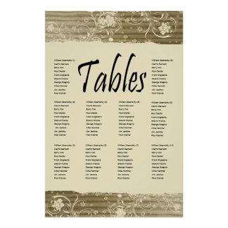 Banded Wood Seating Chart Gold Sand Tone Print