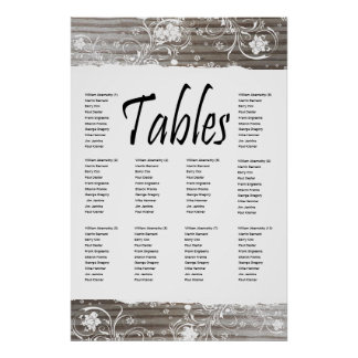 Banded Wood Seating Chart Posters