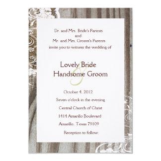 Banded Wood Shabby Lace Wedding Invitation, White Card
