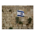 Bandeira de Israel no Muro das Lamentações Cartão Postal