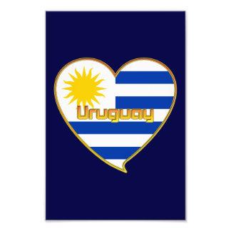 Bandera de URUGUAY elegante corazón y Sol de Mayo Impresiones Fotograficas