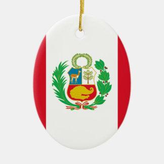 Bandera del Perú - Flag of Peru Ceramic Oval Decoration