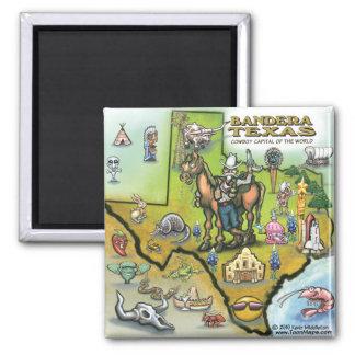 Bandera TEXAS Map Magnets
